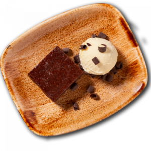 Warmer Brownie mit Vanille Eis
